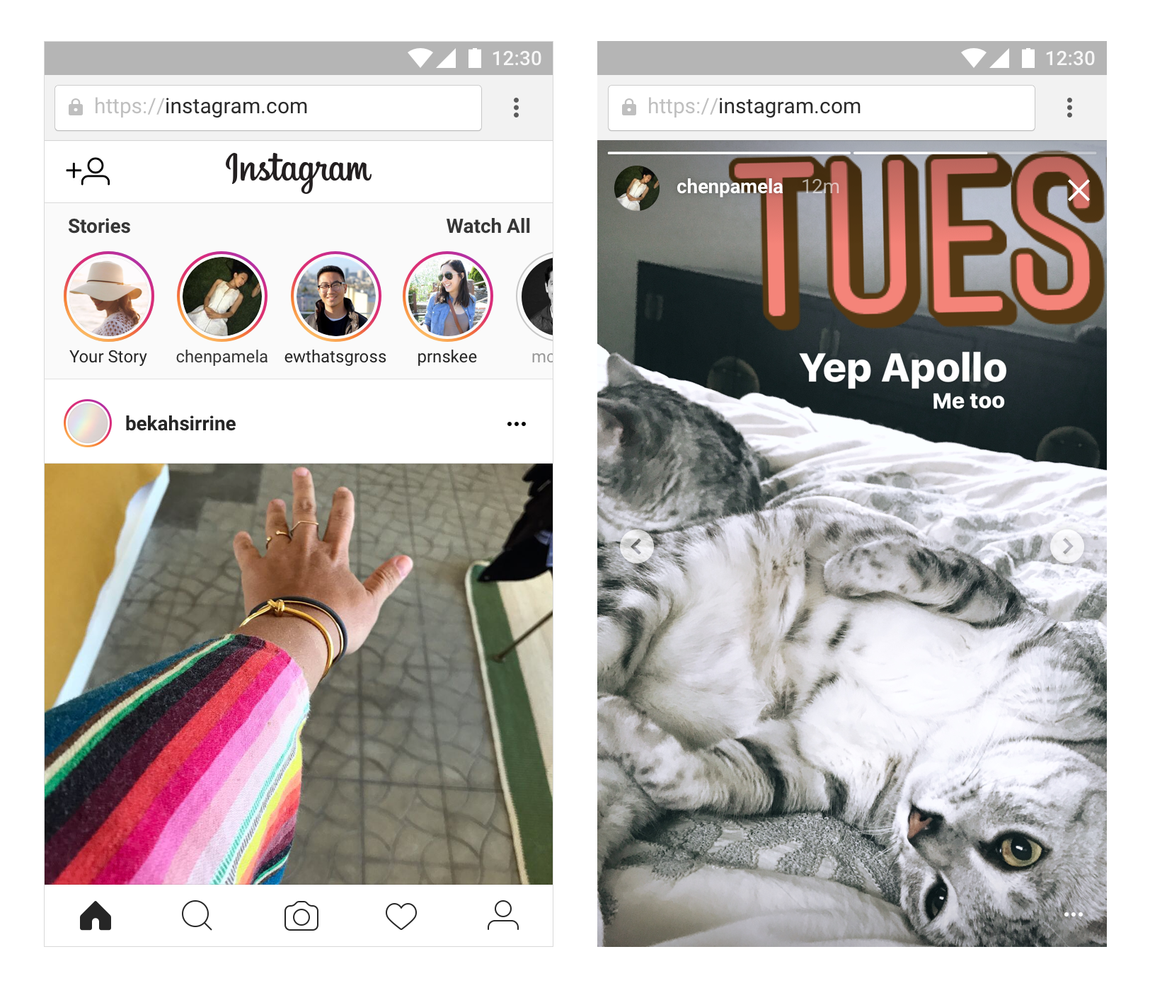 Instagram Stories on Mobile Web