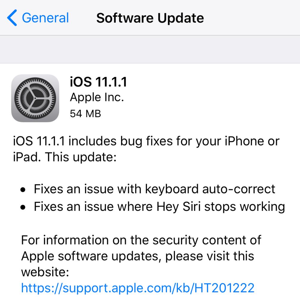 iOS 11.1.1 Update